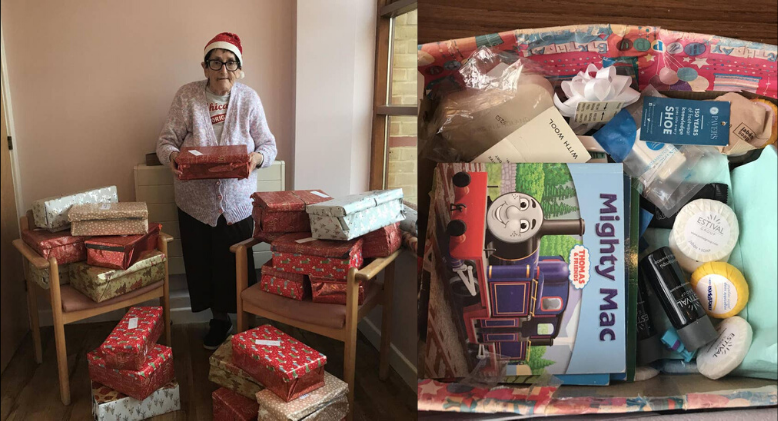 """""""Grandma Christmas"""" Spends Entire Year Packing Goodies For Those In Need"""