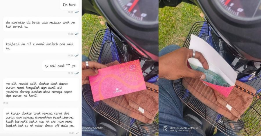 Food Panda Rider Receives RM1,000 Tip From Customer Who Then Asks For A Prayer