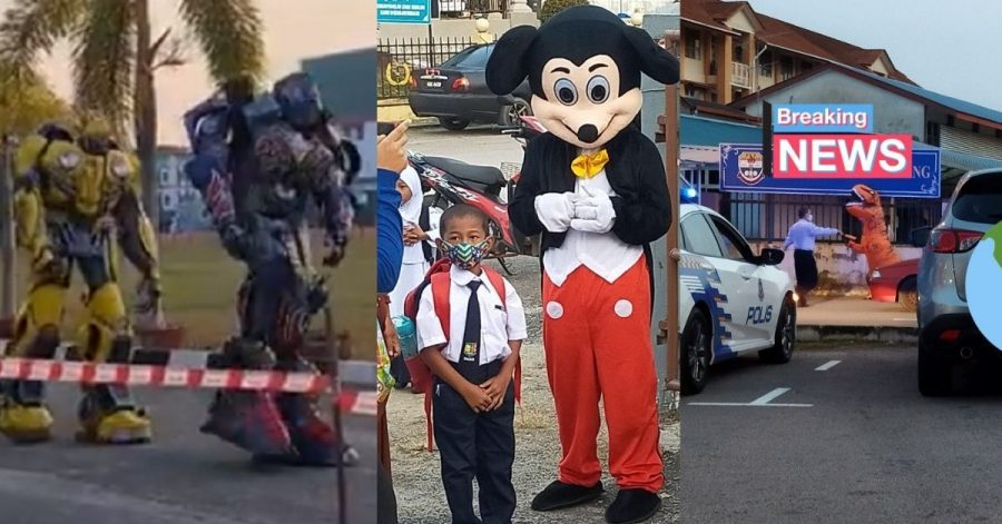 Optimus Prime Invades First Day Of School As Transformers, Mickey And a T-Rex Spotted