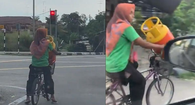 Woman Spotted Transporting 14kg Gas Cannister Using her Bicycle