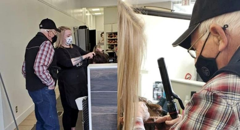 Elderly Man Learns Hair and Makeup Skills to Help Struggling Wife