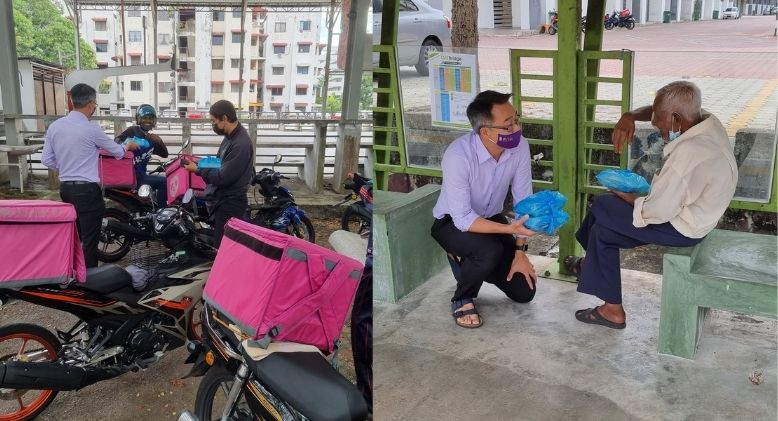 Penang Assemblyman Buys Up All Street Vendor's Chicken Chop, Hands Them to Delivery Riders