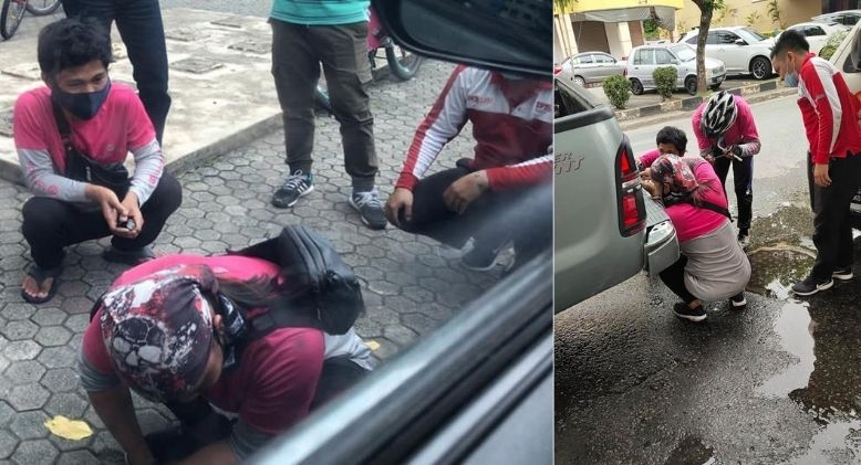 Food Panda Riders and Postman Swing into Action to Help Change Flat Tyre