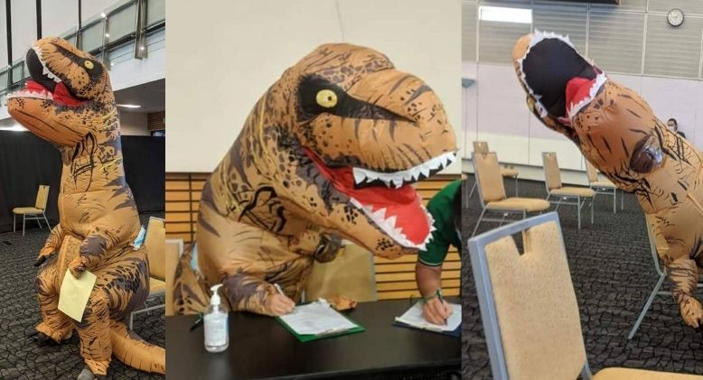 Man Goes to Kuching Vaccination Centre for Covid-19 Jab Dressed as a Dinosaur