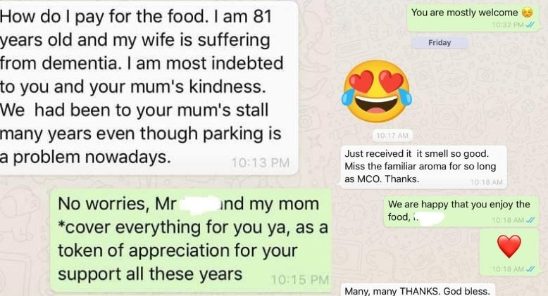 Asam Laksa Stall in PJ Delivers Food for Free to Elderly Man in Sungai Buloh