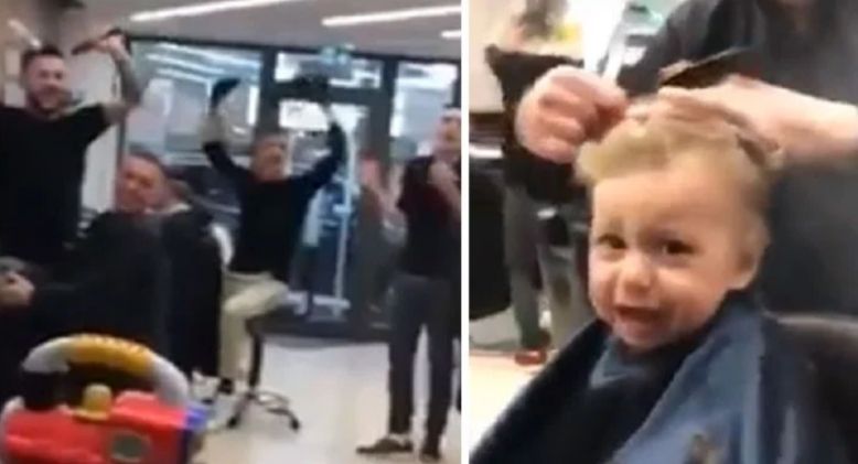 Barbers Sing to Prevent Little Boy from Crying During Haircut