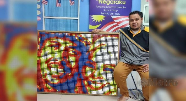 Large Portrait of the Late Siti Sarah and Husband Created Using Rubik's Cubes